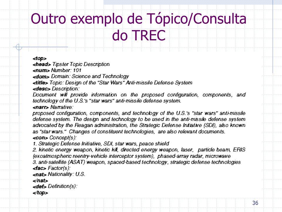 36 Outro exemplo de Tópico/Consulta do TREC