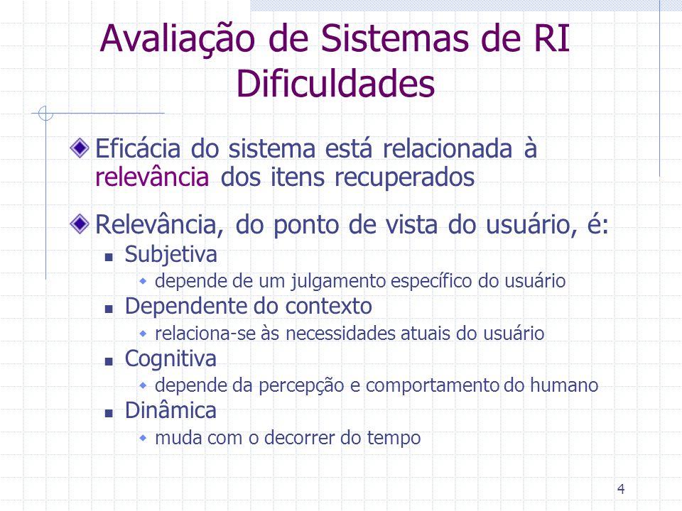 4 Avaliação de Sistemas de RI Dificuldades Eficácia do sistema está relacionada à relevância dos itens recuperados Relevância, do ponto de vista do us
