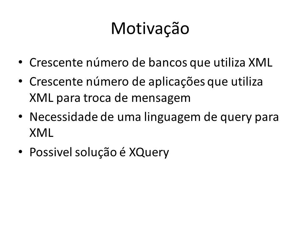 Motivação Crescente número de bancos que utiliza XML Crescente número de aplicações que utiliza XML para troca de mensagem Necessidade de uma linguage
