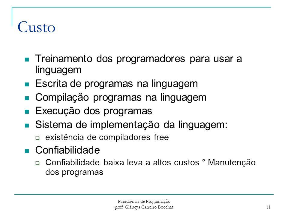 Paradigmas de Programação prof Gláucya Carreiro Boechat 11 Custo Treinamento dos programadores para usar a linguagem Escrita de programas na linguagem