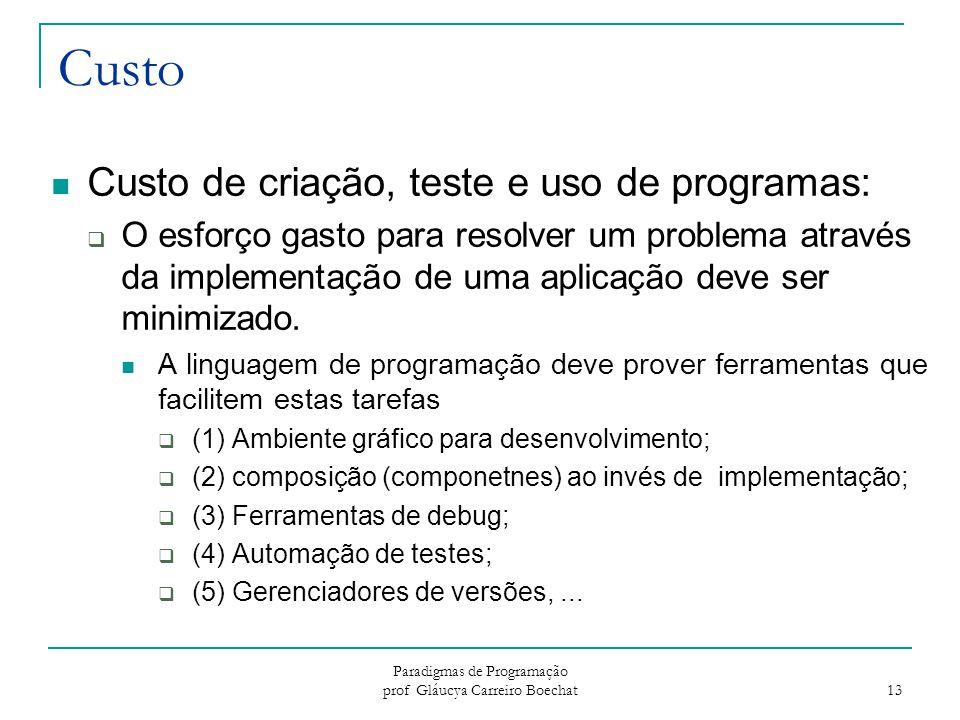 Paradigmas de Programação prof Gláucya Carreiro Boechat 13 Custo Custo de criação, teste e uso de programas:  O esforço gasto para resolver um proble