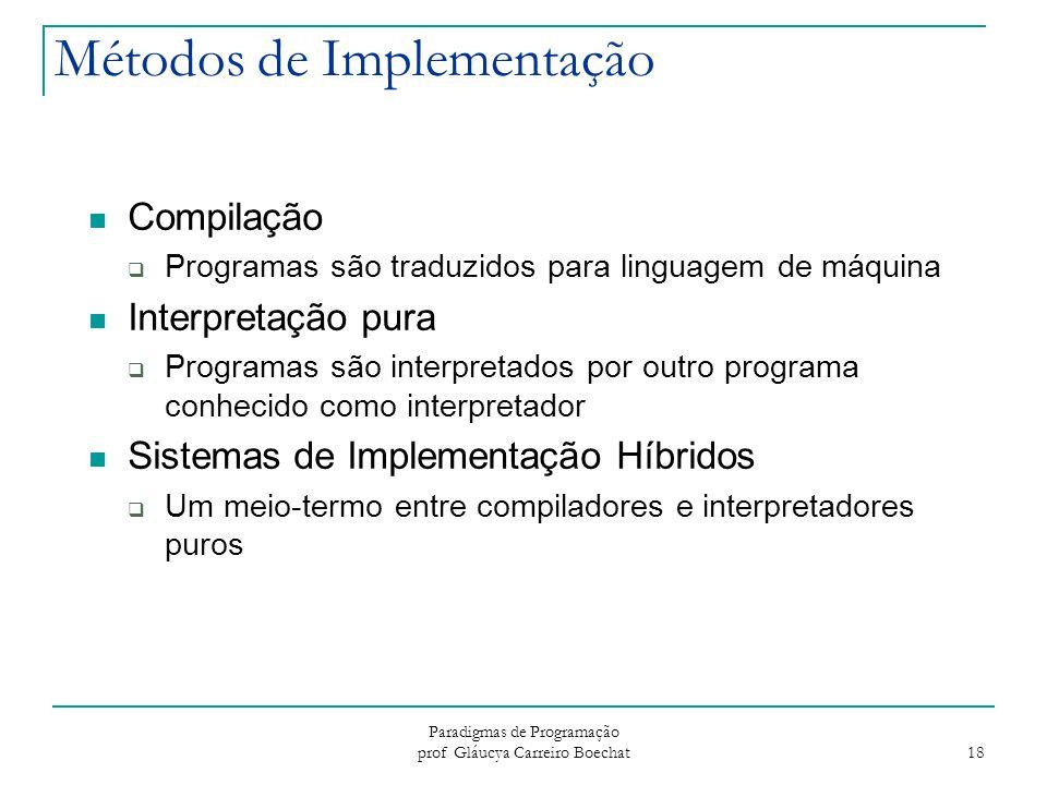 Paradigmas de Programação prof Gláucya Carreiro Boechat 18 Métodos de Implementação Compilação  Programas são traduzidos para linguagem de máquina In