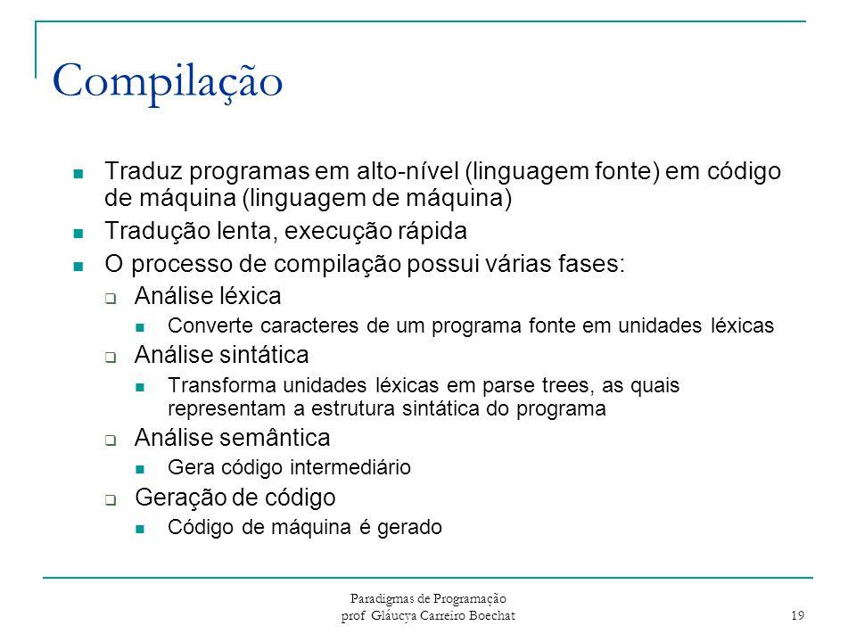 Paradigmas de Programação prof Gláucya Carreiro Boechat 19 Compilação Traduz programas em alto-nível (linguagem fonte) em código de máquina (linguagem