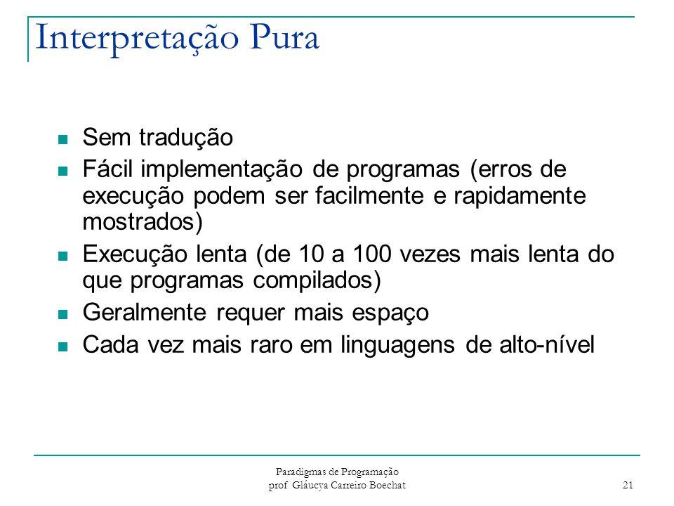 Paradigmas de Programação prof Gláucya Carreiro Boechat 21 Interpretação Pura Sem tradução Fácil implementação de programas (erros de execução podem s
