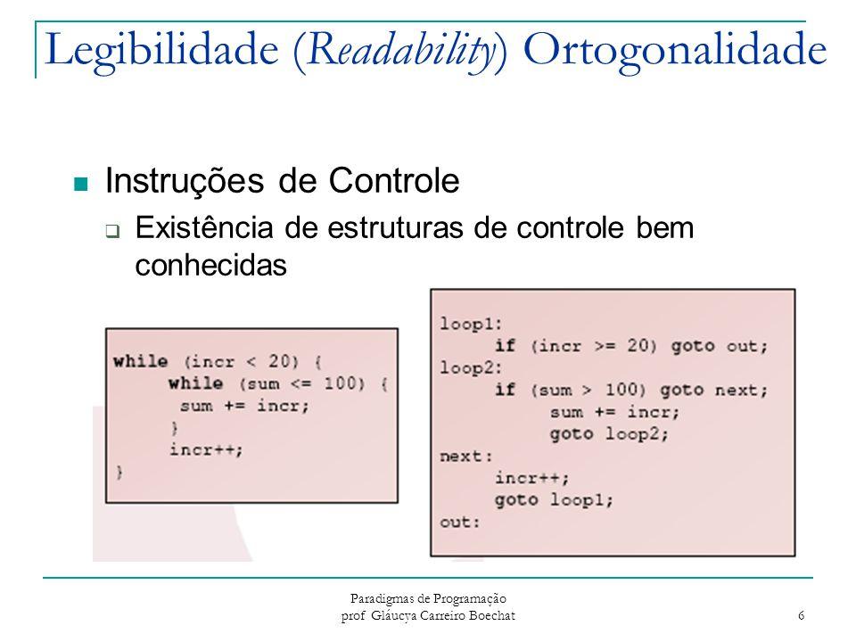 Paradigmas de Programação prof Gláucya Carreiro Boechat 7 Legibilidade (Readability) Tipos de dados e estruturas  A presença de facilidades adequadas para definir tipos de dados e estruturas de dados  Exemplo: suponha que em uma linguagem não exista um tipo de dado booleano e um tipo numérico seja usado para substituí-lo: timeOut = 1 (significado não claro) timeOut = true (significado claro)