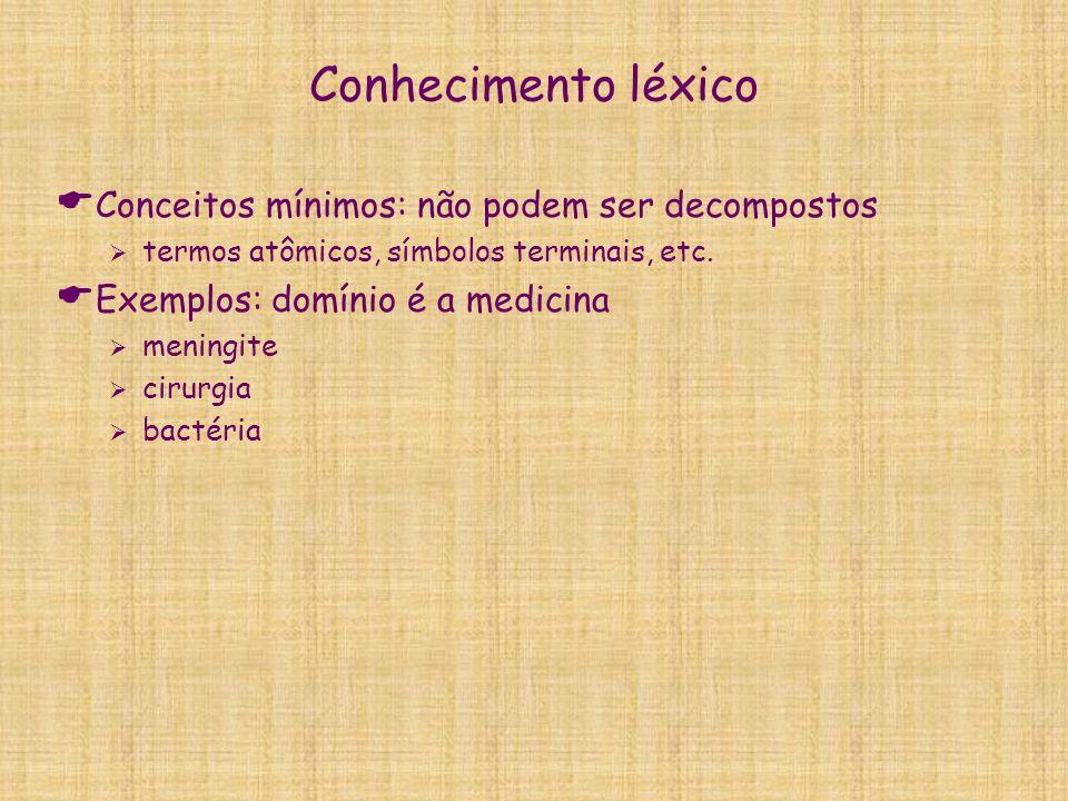 Conhecimento léxico  Conceitos mínimos: não podem ser decompostos  termos atômicos, símbolos terminais, etc.  Exemplos: domínio é a medicina  meni