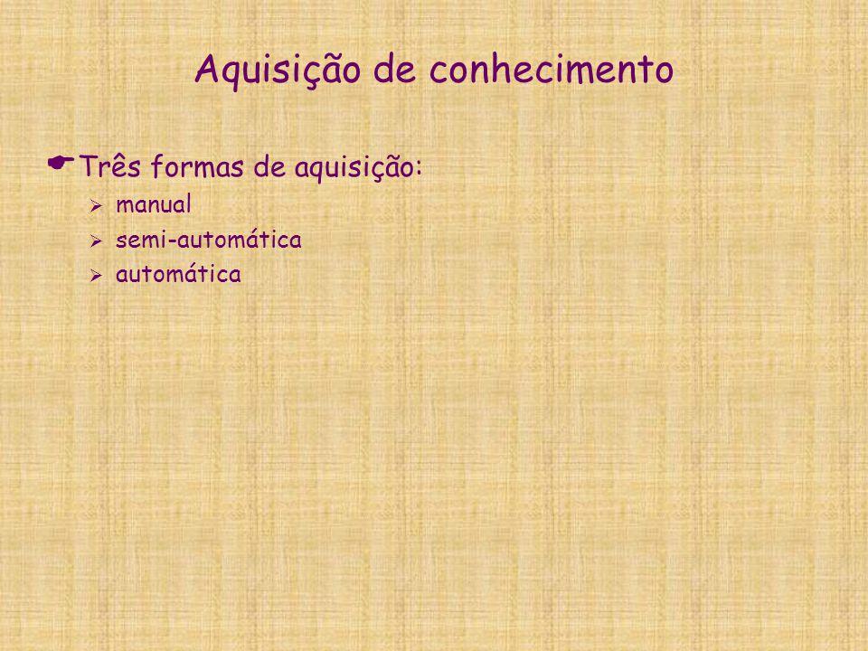 Aquisição de conhecimento  Três formas de aquisição:  manual  semi-automática  automática