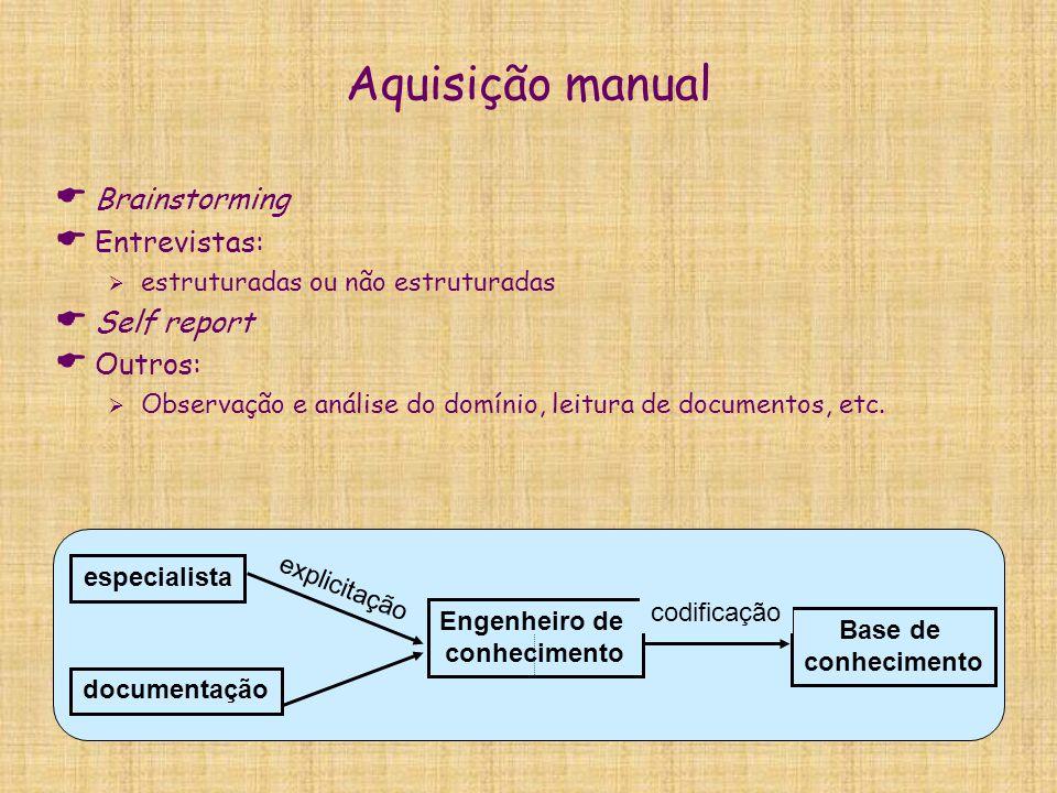 Aquisição manual  Brainstorming  Entrevistas:  estruturadas ou não estruturadas  Self report  Outros:  Observação e análise do domínio, leitura
