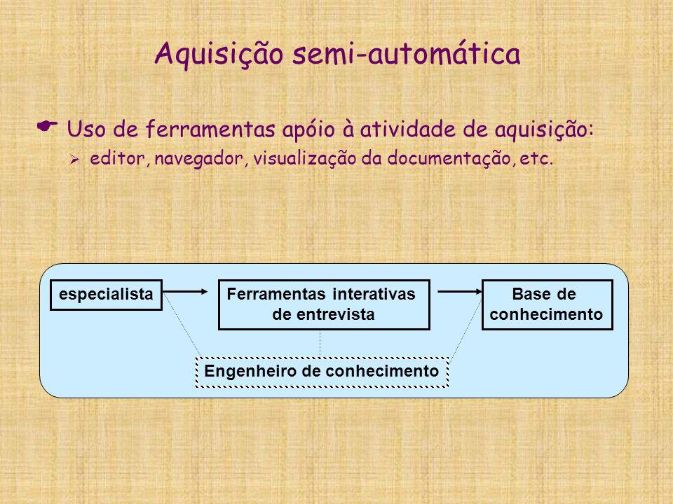 Aquisição semi-automática  Uso de ferramentas apóio à atividade de aquisição:  editor, navegador, visualização da documentação, etc. especialistaFer