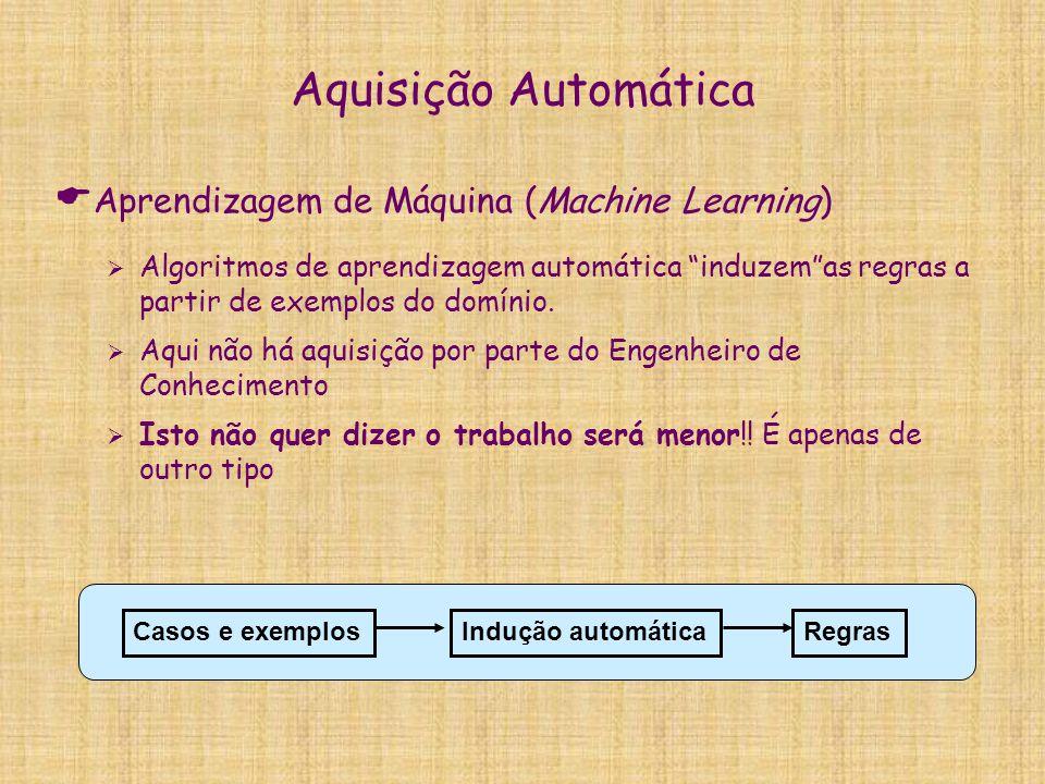 """Aquisição Automática  Aprendizagem de Máquina (Machine Learning)  Algoritmos de aprendizagem automática """"induzem""""as regras a partir de exemplos do d"""
