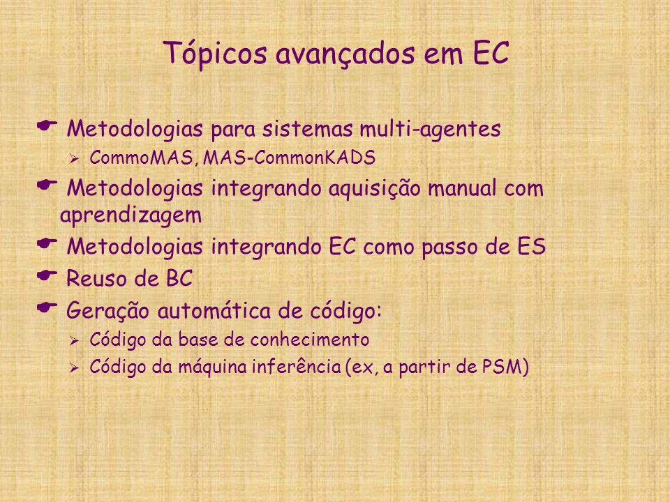 Tópicos avançados em EC  Metodologias para sistemas multi-agentes  CommoMAS, MAS-CommonKADS  Metodologias integrando aquisição manual com aprendiza