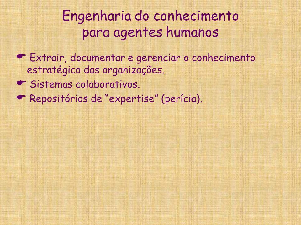 Engenharia do conhecimento para agentes humanos  Extrair, documentar e gerenciar o conhecimento estratégico das organizações.  Sistemas colaborativo