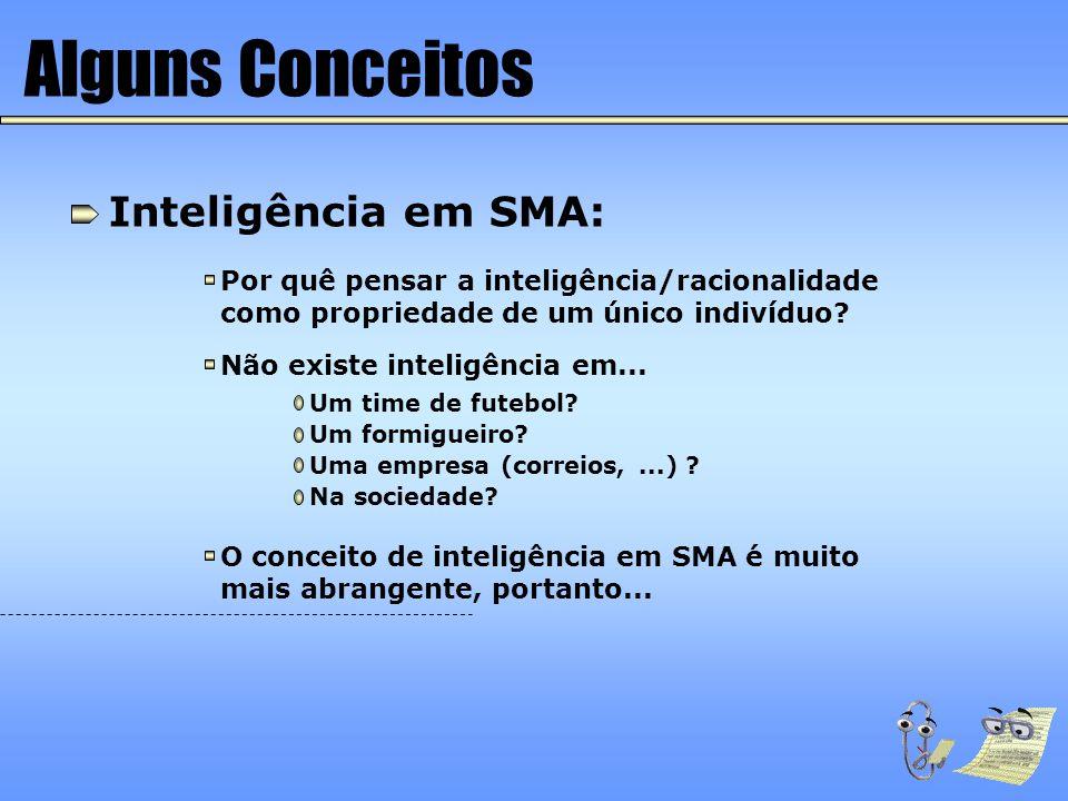 Alguns Conceitos Inteligência em SMA: Por quê pensar a inteligência/racionalidade como propriedade de um único indivíduo? Não existe inteligência em..