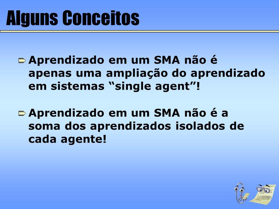 """Alguns Conceitos Aprendizado em um SMA não é apenas uma ampliação do aprendizado em sistemas """"single agent""""! Aprendizado em um SMA não é a soma dos ap"""
