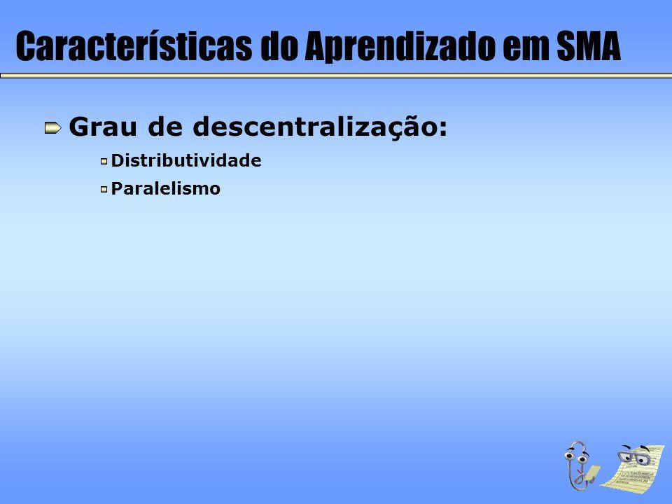 Características do Aprendizado em SMA Grau de descentralização: Distributividade Paralelismo