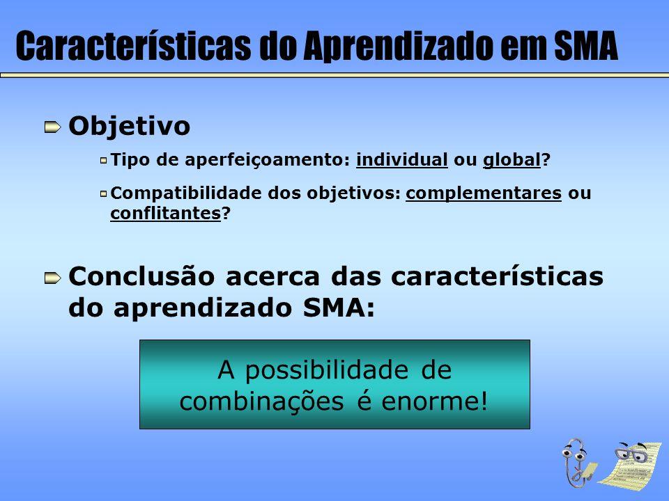 Características do Aprendizado em SMA Objetivo Compatibilidade dos objetivos: complementares ou conflitantes? Tipo de aperfeiçoamento: individual ou g