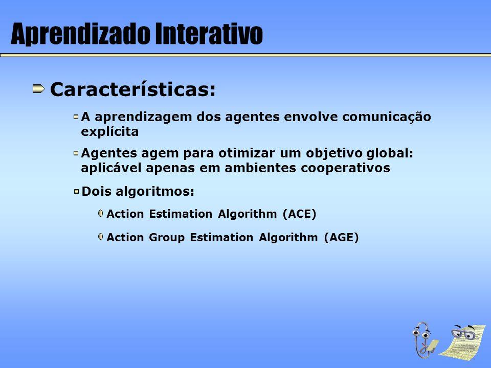 Aprendizado Interativo Características: A aprendizagem dos agentes envolve comunicação explícita Agentes agem para otimizar um objetivo global: aplicá