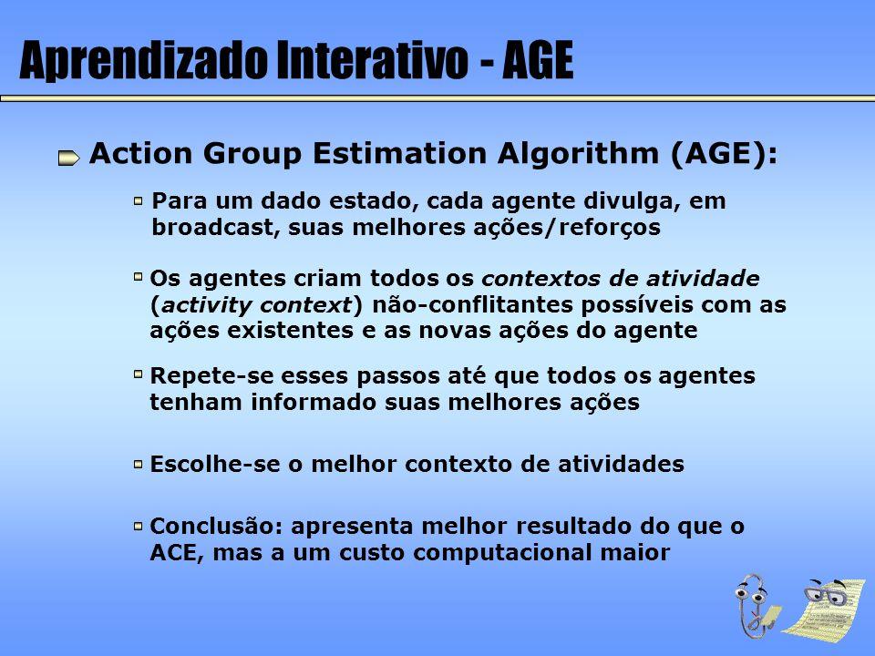Aprendizado Interativo - AGE Action Group Estimation Algorithm (AGE): Para um dado estado, cada agente divulga, em broadcast, suas melhores ações/refo