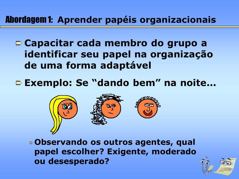 Abordagem 1: Aprender papéis organizacionais Capacitar cada membro do grupo a identificar seu papel na organização de uma forma adaptável Exemplo: Se