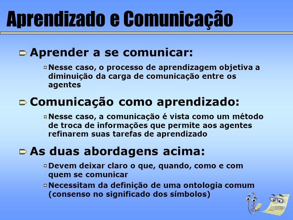 Aprendizado e Comunicação Aprender a se comunicar: Nesse caso, o processo de aprendizagem objetiva a diminuição da carga de comunicação entre os agent