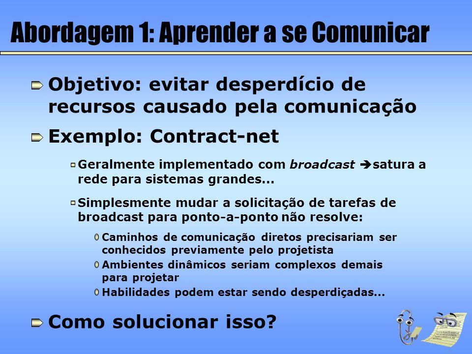 Abordagem 1: Aprender a se Comunicar Objetivo: evitar desperdício de recursos causado pela comunicação Exemplo: Contract-net Geralmente implementado c
