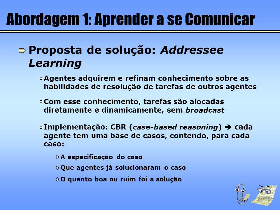Abordagem 1: Aprender a se Comunicar Proposta de solução: Addressee Learning Agentes adquirem e refinam conhecimento sobre as habilidades de resolução