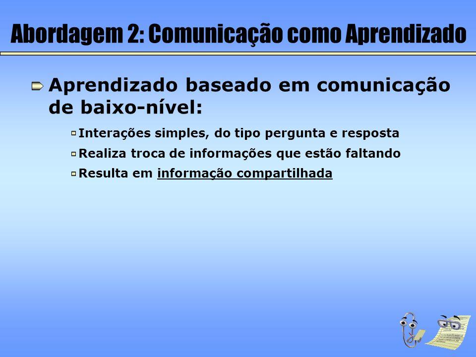 Abordagem 2: Comunicação como Aprendizado Aprendizado baseado em comunicação de baixo-nível: Interações simples, do tipo pergunta e resposta Resulta e