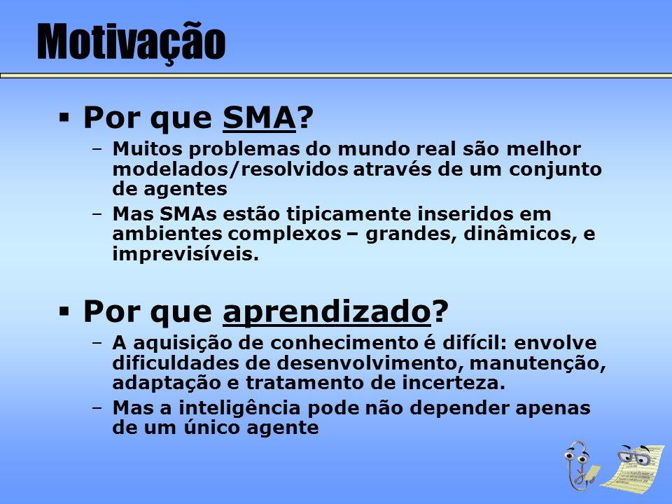 Motivação  Por que SMA? –Muitos problemas do mundo real são melhor modelados/resolvidos através de um conjunto de agentes –Mas SMAs estão tipicamente