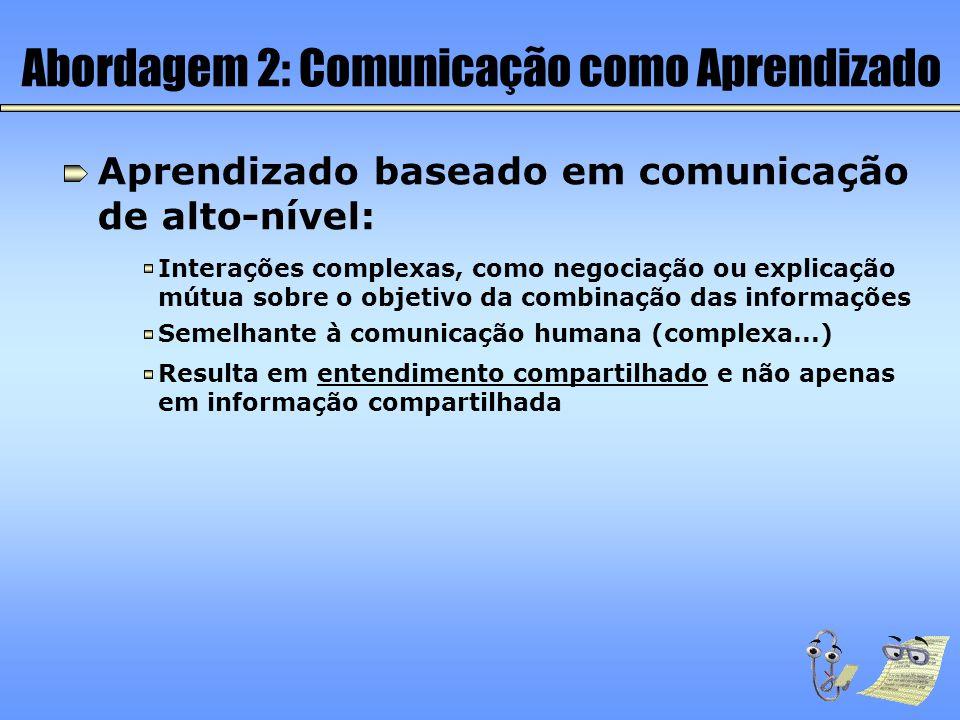 Aprendizado baseado em comunicação de alto-nível: Interações complexas, como negociação ou explicação mútua sobre o objetivo da combinação das informa