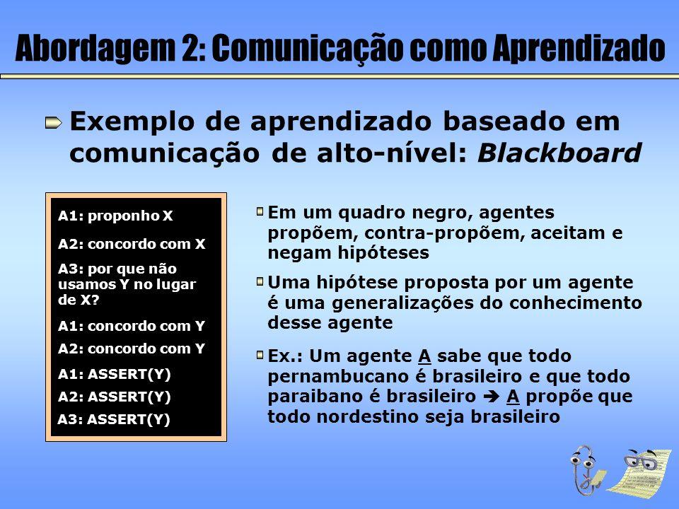 Abordagem 2: Comunicação como Aprendizado Exemplo de aprendizado baseado em comunicação de alto-nível: Blackboard Em um quadro negro, agentes propõem,