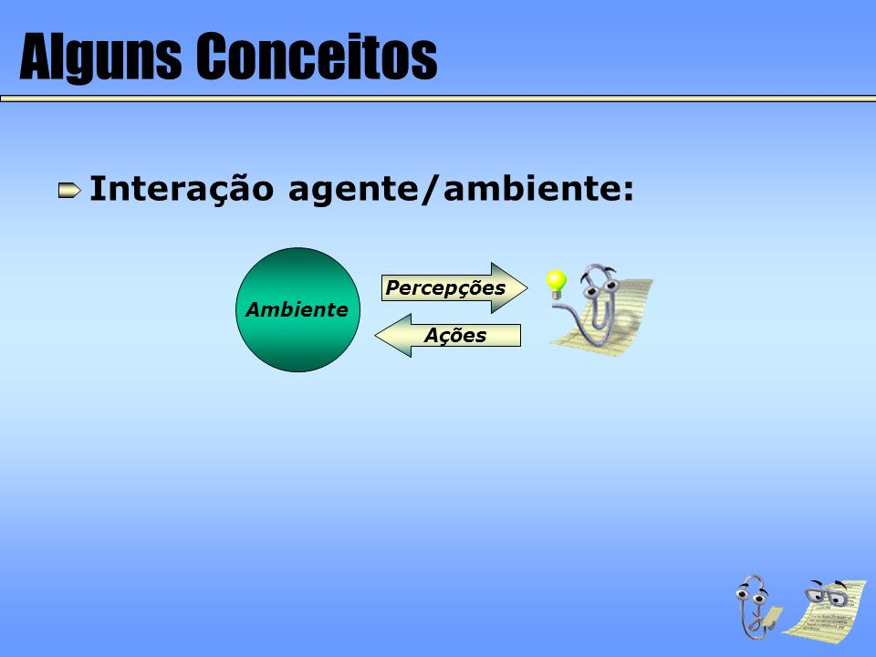 Alguns Conceitos Agente que aprende (off-line): Ambiente Percepções Ações Sensores Efetuadores Módulo de Execução Conhecimento Algoritmo de Aprendizado Exemplos Agente Inteligência!