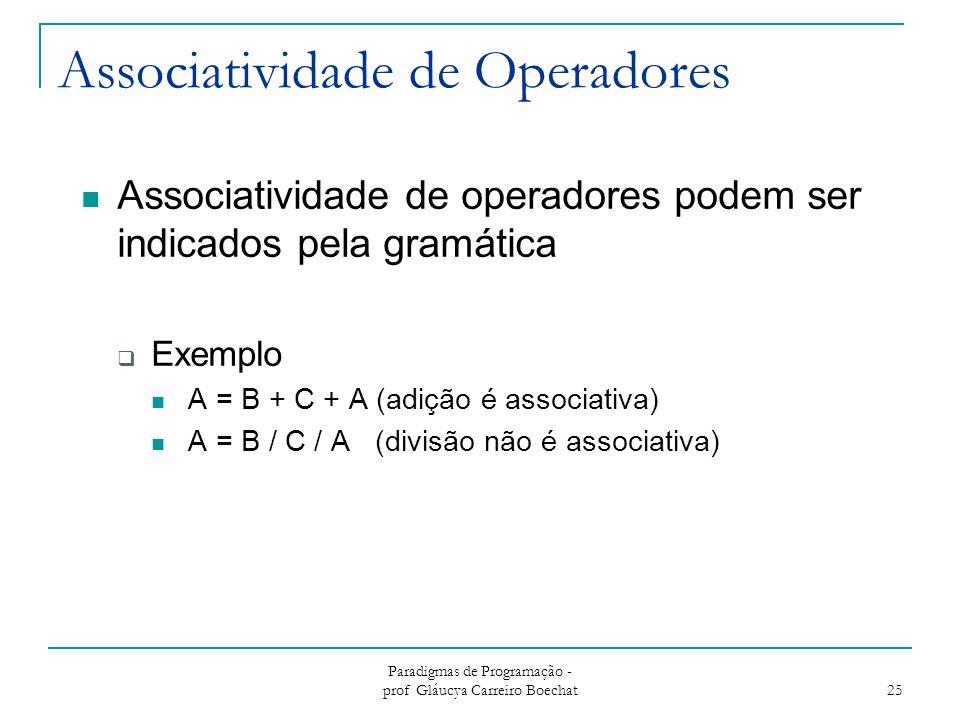 Paradigmas de Programação - prof Gláucya Carreiro Boechat 25 Associatividade de Operadores Associatividade de operadores podem ser indicados pela gram