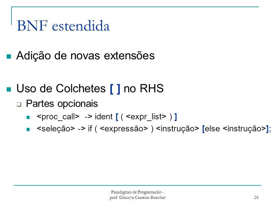 Paradigmas de Programação - prof Gláucya Carreiro Boechat 28 BNF estendida Adição de novas extensões Uso de Colchetes [ ] no RHS  Partes opcionais ->