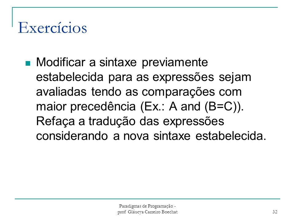Paradigmas de Programação - prof Gláucya Carreiro Boechat 32 Exercícios Modificar a sintaxe previamente estabelecida para as expressões sejam avaliada