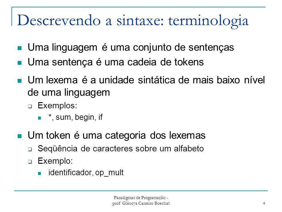 Paradigmas de Programação - prof Gláucya Carreiro Boechat 5 Descrevendo a sintaxe: terminologia Exemplo (C)  Resultado = 45 + Cont * 5; LexemaToken resultadoidentificador =sinal_igual 45int_literal +op_soma ContIdentificador *op_mult 5int_literal ;ponto_e_virgula