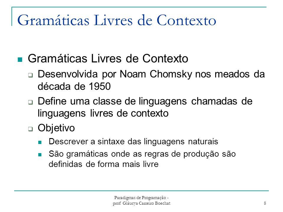 Paradigmas de Programação - prof Gláucya Carreiro Boechat 8 Gramáticas Livres de Contexto  Desenvolvida por Noam Chomsky nos meados da década de 1950