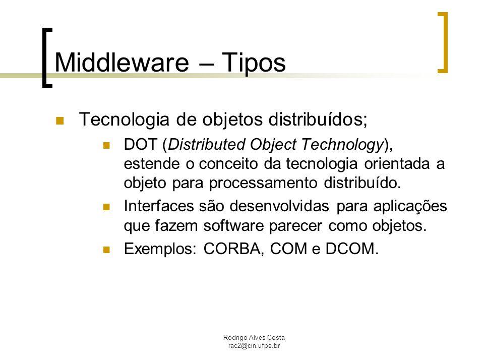 Rodrigo Alves Costa rac2@cin.ufpe.br Middleware – Tipos Tecnologia de objetos distribuídos; DOT (Distributed Object Technology), estende o conceito da