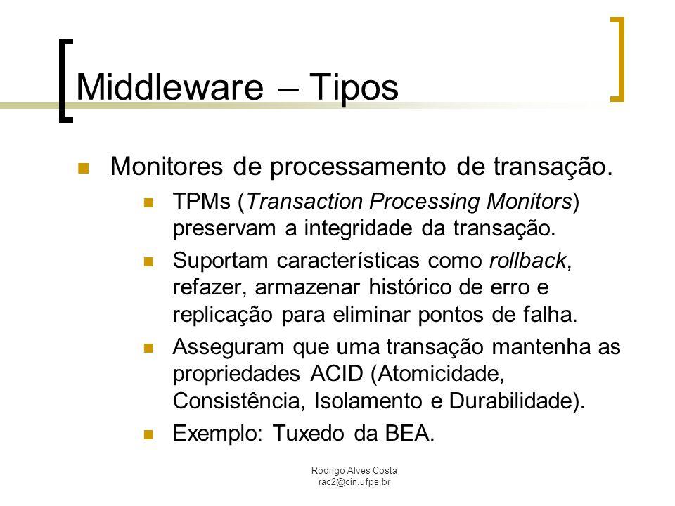 Rodrigo Alves Costa rac2@cin.ufpe.br Middleware – Tipos Monitores de processamento de transação. TPMs (Transaction Processing Monitors) preservam a in