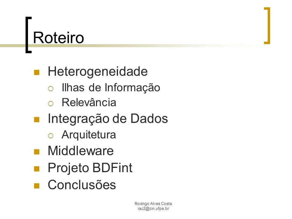 Rodrigo Alves Costa rac2@cin.ufpe.br Middleware Camada de software que tenta solucionar o problema da heterogeneidade Fornece uma alternativa para simplificar a vida dos usuários Visão transparente dos recursos e serviços Facilita a comunicação de pedidos entre componentes de software por meio de interfaces definidas ou mensagens.