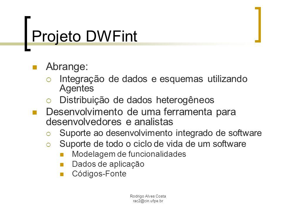 Rodrigo Alves Costa rac2@cin.ufpe.br Projeto DWFint Abrange:  Integração de dados e esquemas utilizando Agentes  Distribuição de dados heterogêneos