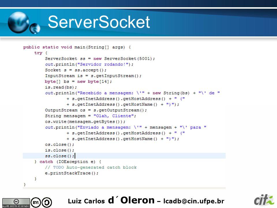 Luiz Carlos d´Oleron – lcadb@cin.ufpe.br ServerSocket