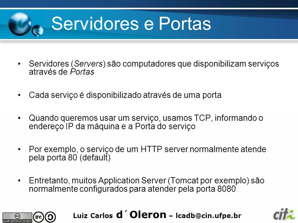 Luiz Carlos d´Oleron – lcadb@cin.ufpe.br Servidores e Portas Servidores (Servers) são computadores que disponibilizam serviços através de Portas Cada