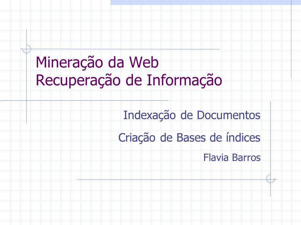 Mineração da Web Recuperação de Informação Indexação de Documentos Criação de Bases de índices Flavia Barros