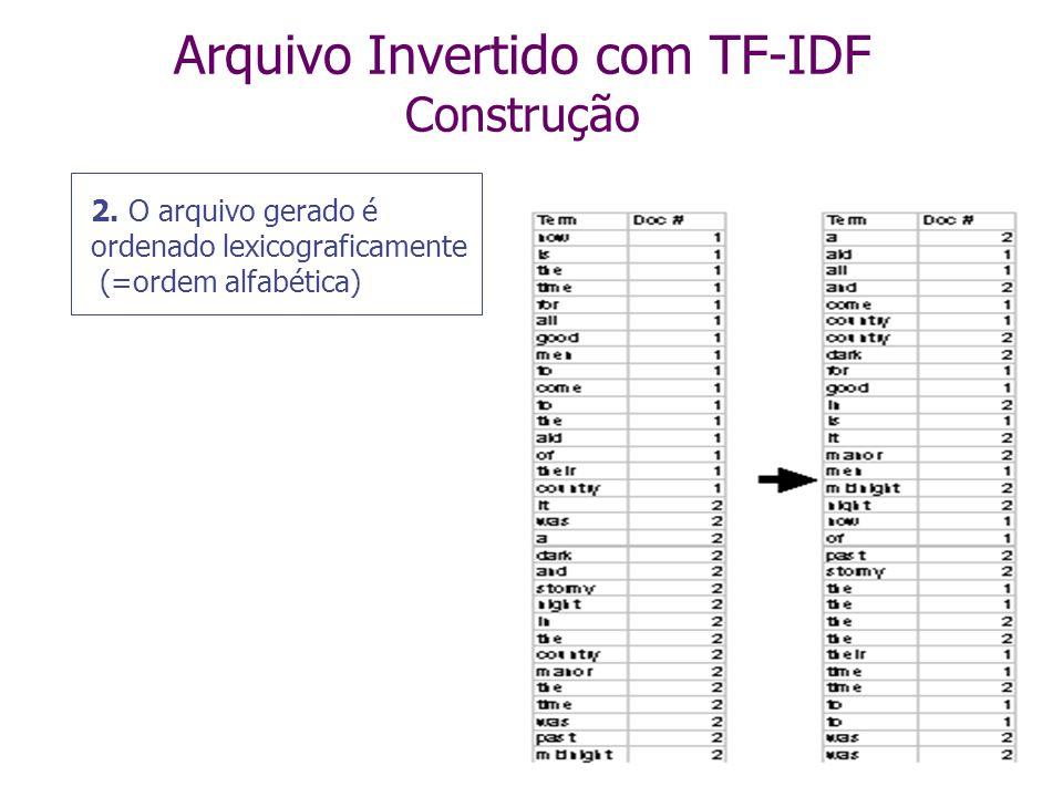 Arquivo Invertido com TF-IDF Construção 1. Texto dos documentos é pré-processado para extrair os termos relevantes, que são armazenados de forma seqüe
