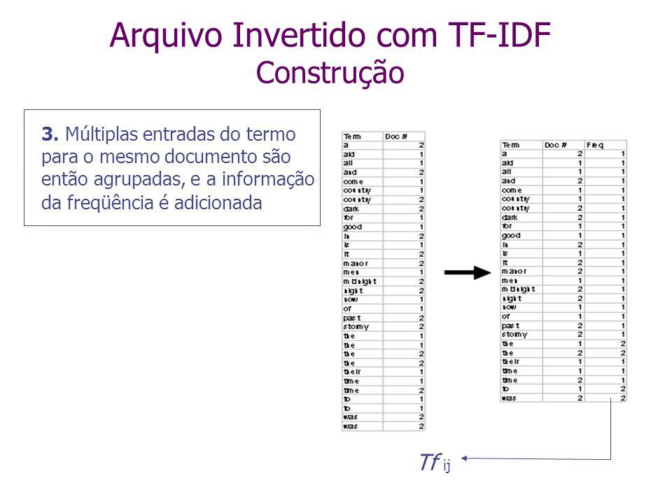 Arquivo Invertido com TF-IDF Construção 2. O arquivo gerado é ordenado lexicograficamente (=ordem alfabética)
