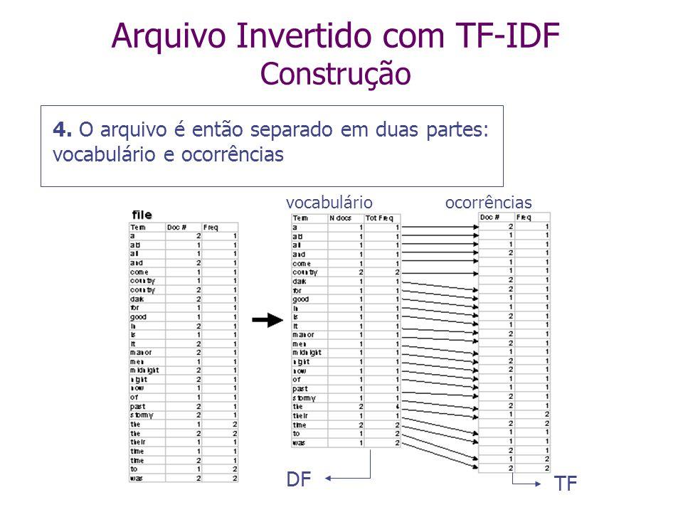 Arquivo Invertido com TF-IDF Construção A Busca em um arquivo invertido sempre começa a partir do vocabulário Assim, é sempre melhor armazenar o vocabulário em um arquivo separado