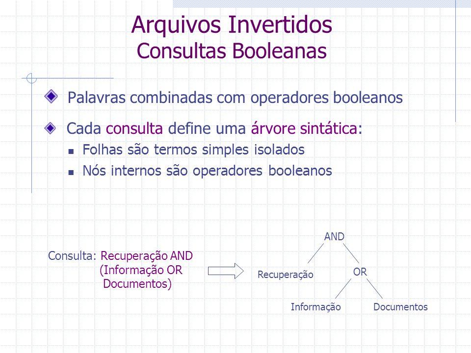 Arquivos Invertidos Consultas com Contexto Busca com Proximidade das Palavras Usa uma abordagem semelhante à busca por grupos nominais Seleciona os documentos em que todas as palavras da consulta ocorrem Em um contexto que satisfaz as restrições de proximidade da consulta Exemplo de consulta: (p1, p2, 4) Depois de localizar p1 Encontra a ocorrência mais próxima de p2 a p1 E verifica se está dentro da distância máxima permitida - 4