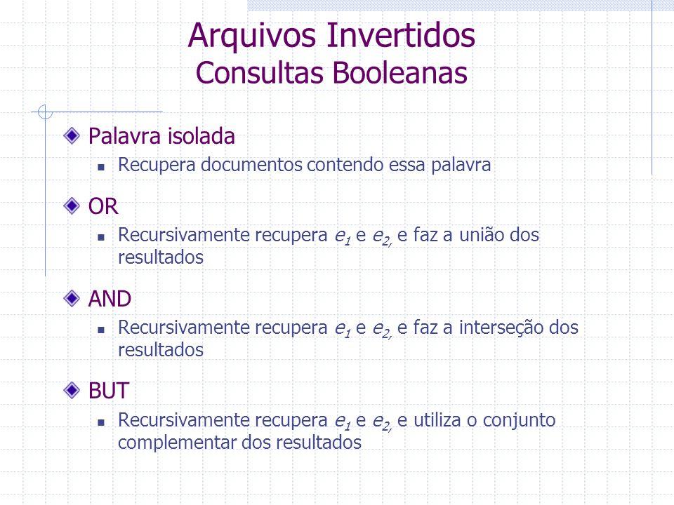 Arquivos Invertidos Consultas Booleanas O algoritmo de busca percorre a árvore sintática da consulta a partir das folhas Folhas correspondem a buscas