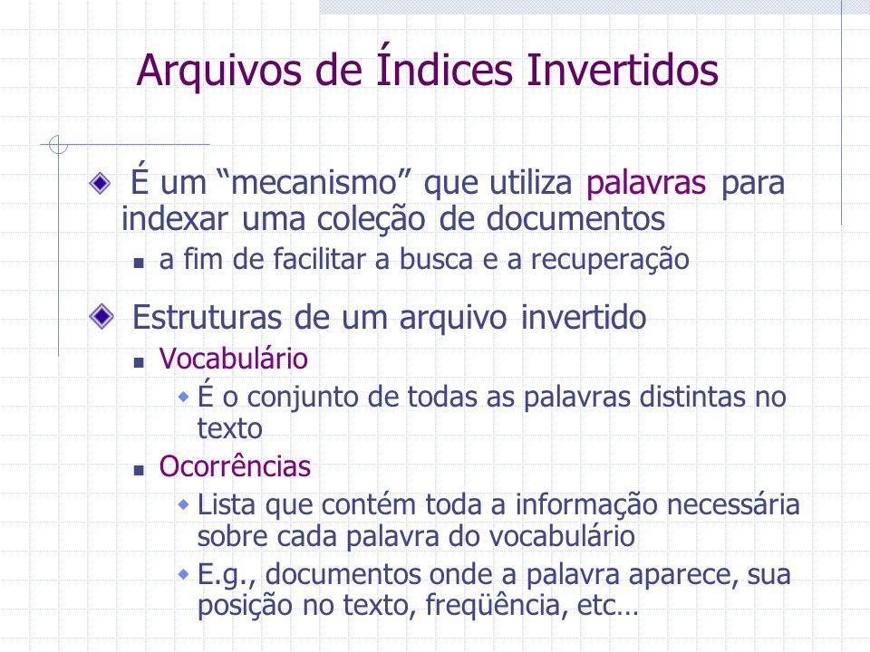 Roteiro Métodos de Indexação de Documentos Arquivos invertidos Arquivos de assinaturas Bitmaps