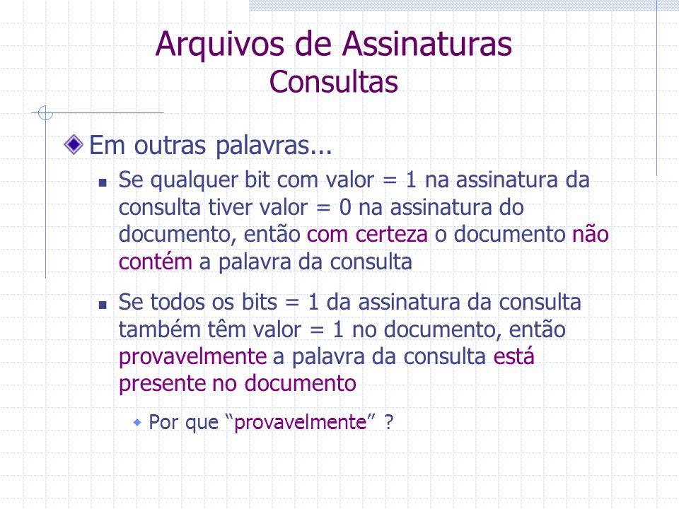 Arquivos de Assinaturas Consultas Formalização: Seja Bj a assinatura do documento Dj Seja P a assinatura da palavra da consulta Então recupere todos os documentos em que P AND Bj = P  Esses documentos provavelmente contêm a palavra da consulta